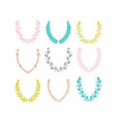 Colorful leaves pattern laurel wreath set on white vector