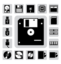 Computer and storage icons set vector image