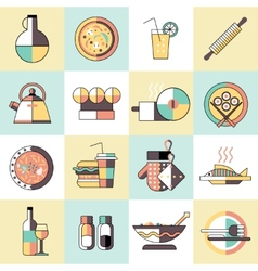 Cooking food icons flat line vector