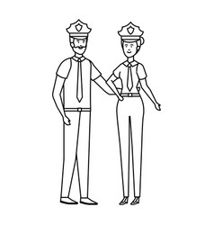 Couple polices officers avatars characters vector