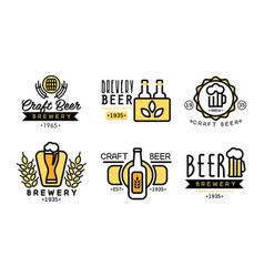 craft beer logo set vintage brewery premium vector image