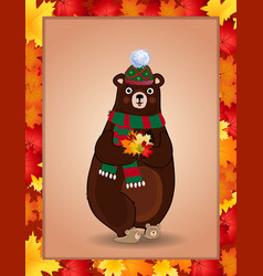 cute bear in green knitted scarf and hat holding vector image
