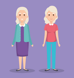 cute grandmothers avatars characters vector image
