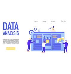 Data analysis landing page isometric vector
