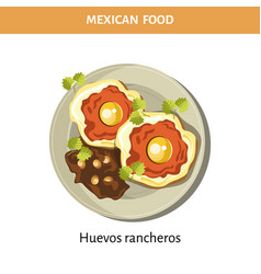 delicious huevos rancheros on plate from mexican vector image