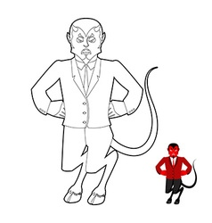 Devil Coloring book Demon in linear style Crafty vector