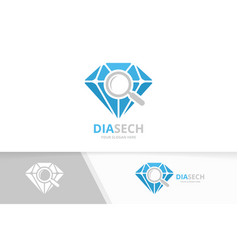 diamond and loupe logo combination jewelry vector image