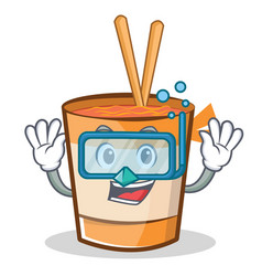 Diving cup noodles character cartoon vector