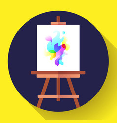 draw easel icon with canvas flat art icon vector image