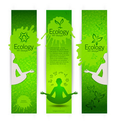 Ecological harmony concept banners vector