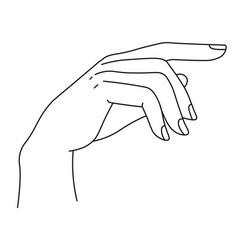 Elegant hand with fingers minimalist palm line vector