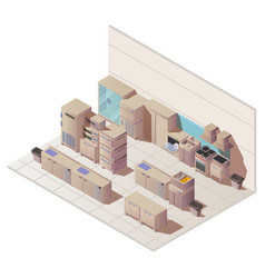 empty isometric interior restaurant kitchen vector image