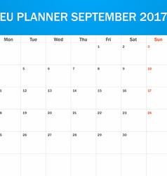 EU Planner blank for September 2017 Scheduler vector