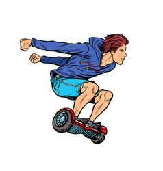 Extreme teenager on hoverboard vector