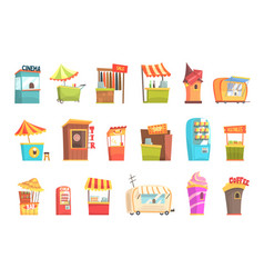 Fair and market street food and shop kiosks small vector