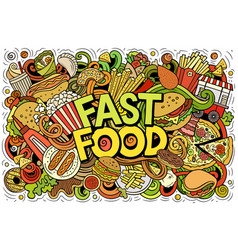 Fastfood hand drawn cartoon doodles vector