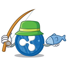 Fishing ripple coin character cartoon vector