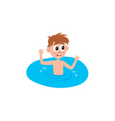 Flat boy swimming in pool vector