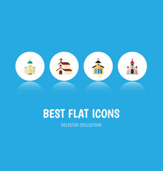 Flat icon church set of religion religious vector