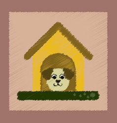 flat shading style icon dog in booth vector image