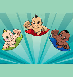 Flying babies background vector
