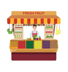 Fruit and vegetables retail business owner vector