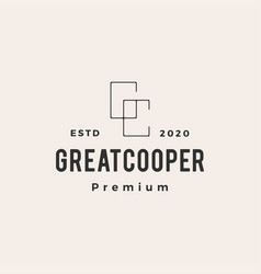 gc letter great cooper hipster vintage logo icon vector image