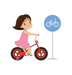 Girl riding bike bicycles only road sign traffic vector