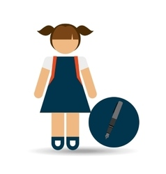 girl uniform school pen icon vector image