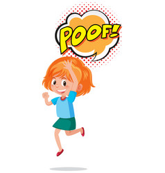 Girl with expression word poof vector