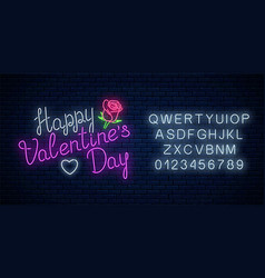 glowing neon happy valentines day text with rose vector image