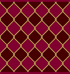 gold wire grid seamless pattern on dark red and vector image