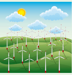 green landscape with field wind turbins energy vector image