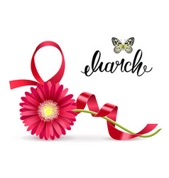 Greeting card with march 8 and gerbera vector