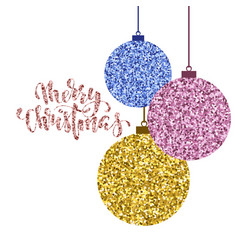 Hanging christmas ball gold glitter hand drawn vector