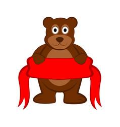Happy bear holding a ribbon vector