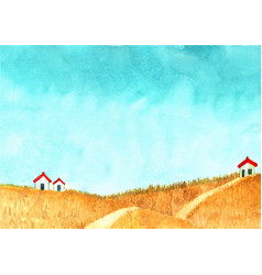 house at golden grass meadow with cloud sky vector image