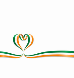 irish flag heart-shaped ribbon vector image