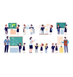 lesson with teacher children classroom happy vector image