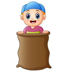 little boy playing jumping sack race vector image