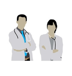 Male and Female Doctor Silhouettes vector image