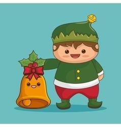 Merry christmas characters kawaii style vector