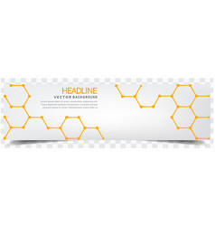 Modern yellow honeycomb white background headline vector