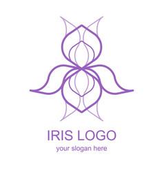 Mono line iris logotype vector
