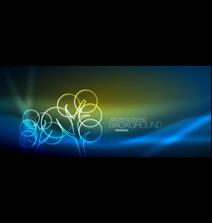 Neon glowing tree background vector