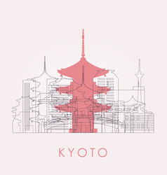 Outline kyoto skyline with landmarks vector