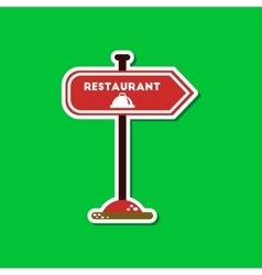 Paper sticker on stylish background restaurant vector