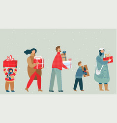 people cartoon characters carrying christmas vector image