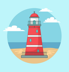 red lighthouse on ocean or sea beach landscape vector image