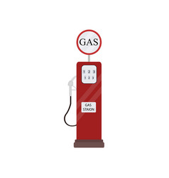 Retro vintage red gas station isolated on white vector